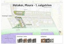 Oversikt over første byggetrinn på Holaker.