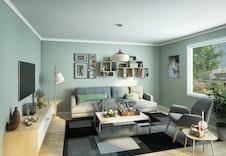 Hus E, Stuen i 3-roms leilighetene får godt med dagslys  (Dette er en illustrasjon og kan fravike fra virkelige omgivelser)