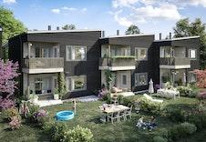 Holaker i Maura blir et flott prosjekt med leiligheter i forskjellige størrelser og eneboliger i rekke. Her vises Bolig E med flotte uteområder og stilig design på bygget  (Dette er en illustrasjon og kan fravike fra virkelige omgivelser)