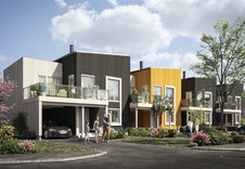 Eneboliger i rekke med carport, sportsbod, 2 balkonger og uteområde på baksiden av boligen. (Dette er en illustrasjon og kan fravike fra virkelige omgivelser)