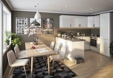 Hus E- Kjøkken leveres fra Sigdal, og det er plass til spisebord i alle leiligheter. (Dette er en illustrasjon og kan fravike fra virkelige omgivelser)