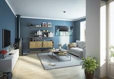Hus E- Stue i 4-roms leilighet med koselig peis, utgang til platting/balkong og godt med innslipp av dagslys. (Dette er en illustrasjon og kan fravike fra virkelige omgivelser)