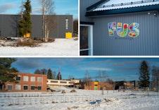 Skolen og idrettshallen i Maura, samt og en av de nærmeste barnehagene til boligfeltet.