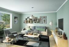 Stuen i 3-roms leilighetene får godt med dagslys  (Dette er en illustrasjon og kan fravike fra virkelige omgivelser)
