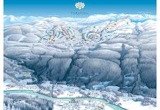 Illustrasjon av hytteområdet Turufjell m/alpin- og løypeinformasjon. Skisse for utviklingen fremover.