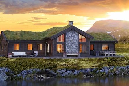 Storstuggu - Storslagen drømmehytte tilpasset flate tomter med et totalt bruksareal på 148 kvadratmeter.