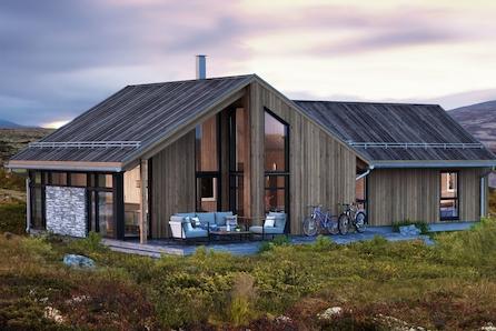 Prosjektert innholdsrik hytte m/hems, 3 soverom og stor kjøkken/stue
