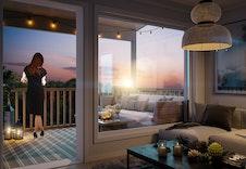 Boligen vil få flott utsikt ut til Jevnaker og Ringeriksområdene fra balkongen, som har utg. fra stuen.  Illustrasjonsbilde