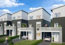 Illustrasjon av hus 1-4 i forkant