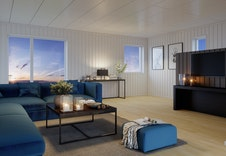 Illustrasjon av stue i hus 5-8