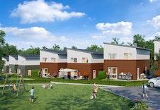 Illustrasjon av fellesområde med baksiden av hus 3-6