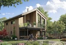 Illustrasjon. Eksempel på bolig som kan passe inn. Berga i moderne serien.