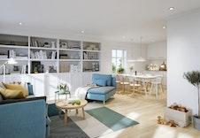 Bjørkli interiør (illustrasjon). Slik kan det se ut hos deg i ditt nye drømmehjem.