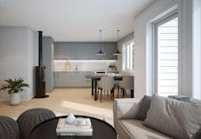 Illustrasjon av kjøkken/stue i Tellus