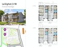 Leilighet 3-10: Firemannsbolig med 82-83 kvm store leiligheter, 3 soverom og balkong/terrasse