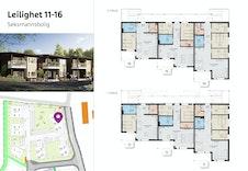 Leilighet 11-16: Seksmannsbolig som inneholder tre ulike leilighetstyper: 56, 66 eller 82 kvm. 1, 2 eller 3 soverom.