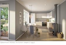Illustrasjonen avviker fra boligens planløsning og er ment for å vise eksempel på kjøkkenfronter.