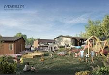 En stor og fin lekeplass vil gi boligfeltets minste beboere ekstra glede og samhold i hverdagen (illustrasjonsbilde).