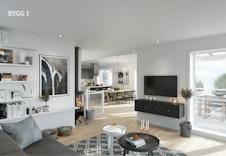 Boligene har en romslig stue/kjøkkenløsning på 49 kvadratmeter.