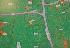 Reguleringskart over eiendommen. LNF/R i kommuneplanen.