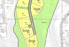 Kart som viser solgte tomter i Spurvtrøa
