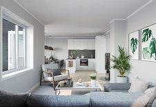 3D-illustrasjon interiør stue/kjøkken