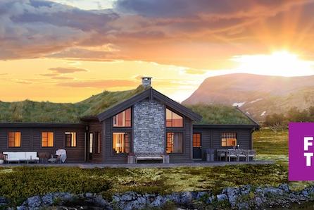 HAFJELL, nytt tomtefelt. Storslått hytte på solrik utsiktstomt. Ski in/out , 5 sov, 2 bad,  tomt, grav- og betong inkl.