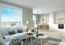 3D-ilustrasjon interiør stue/kjøkken
