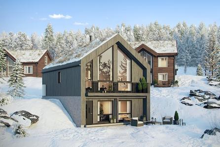 HAFJELL - Nestingsætra. V10 hyttemodell - Malmfuru kledning/ Tak!   3 sov - 2 bad! Tomt,grav/betong inkl. Ski in/ut.