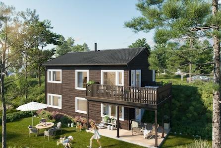 Innholdsrik bolig på flott utsiktstomt. 4 sov, 2 bad og vaskerom.