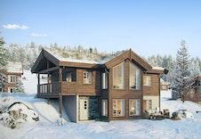 BLÅHØ, en av mange hyttemodeller fra Boligpartner som kan bygges i Espedalen Fjellgrend