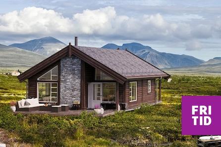 Skeikampen - vår populære hyttemodell Gråhø m/hems - RÅBYGG - Ferdig oppført utvendig!  Tomt, grav og betong inkl!