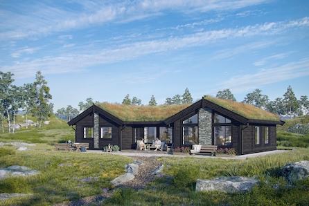 SKEIKAMPEN - Slåseterlia Fjellgrend. Nøkkelferdig H-hytte inkl. grav/betong  med 4 soverom og 2 bad.