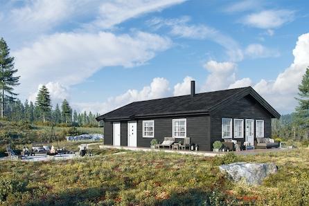 SKEIKAMPEN - Liaråket 22. Nøkkelferdig hytte på 86m2 inklusiv grave- og betongarbeider. Selveiertomt på hele 2492 m2!