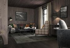 Her kan du nyte fritiden din i denne stua i hytta Nue