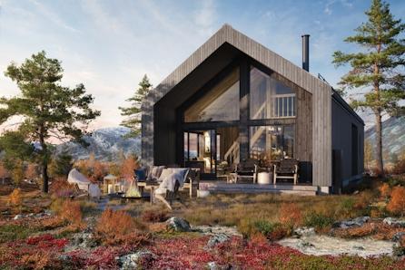 Midt mellom Oslo og Bergen i vakre Vang, 900 moh. Nytt hyttekonsept med malmfuru på kledning og tak. Tomt inkludert
