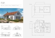 Flø- Plantegning og fasader. Se video med Halvor Bakke