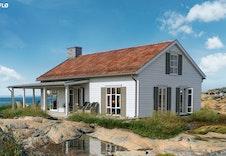 Halvor Bakke har designet son egen hytte modell, Flø og Sva fra serien Lengt. Illustrasjon.