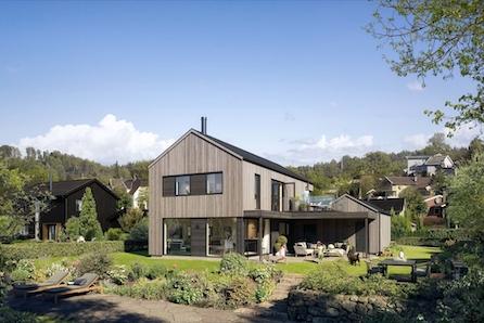 ANGELTVEIT- Moderne hus med stor overbygd uteplass og integrert garasje