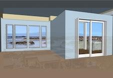 Illustrasjon hvordan utsikten kan bli fra 2 etasje.