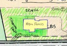 Skisse plassering av Magna Ferentis på tomt 7