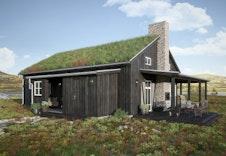 Eksteriørillustrasjon av hytta Nue av Halvor Bakke