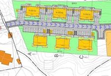 Situasjonsplan over leilegheitene. Det er fokusert på bl.a rikeleg med parkering