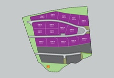 Illustrasjonsplan over 16 frittståande hyttetomter. Leileigheitsområdet er merka i mørk grå farge.