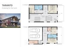 Taranto -  I dette prosjektet blir tilkomsten til garasjen snudd mot aust og det vert stor bod innerst. Ta kontakt for meir info