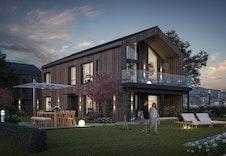 Taranto - Stilreint moderne hus med garasje i underetasjen (illustrasjon) Alle våre modellar kan tilpassast ditt ynskje.
