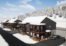 Er prosjektert tre hus i rekkje. Illustrasjon.