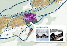 """Ski in-ut: """"Sætreløypa"""" går langs sørsida av Kviehogane og heilt opp til Furuhogane. Det blir etablert tilkomst frå leilegheitene til Sætreløypa! Stipla linjer betyr løyper under planlegging eller under utbedring."""