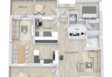 Planløsning 2.etg for hus F. Illustrasjon.