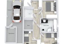 Planløsning 1.etg for hus A, B og C. Illustrasjon.